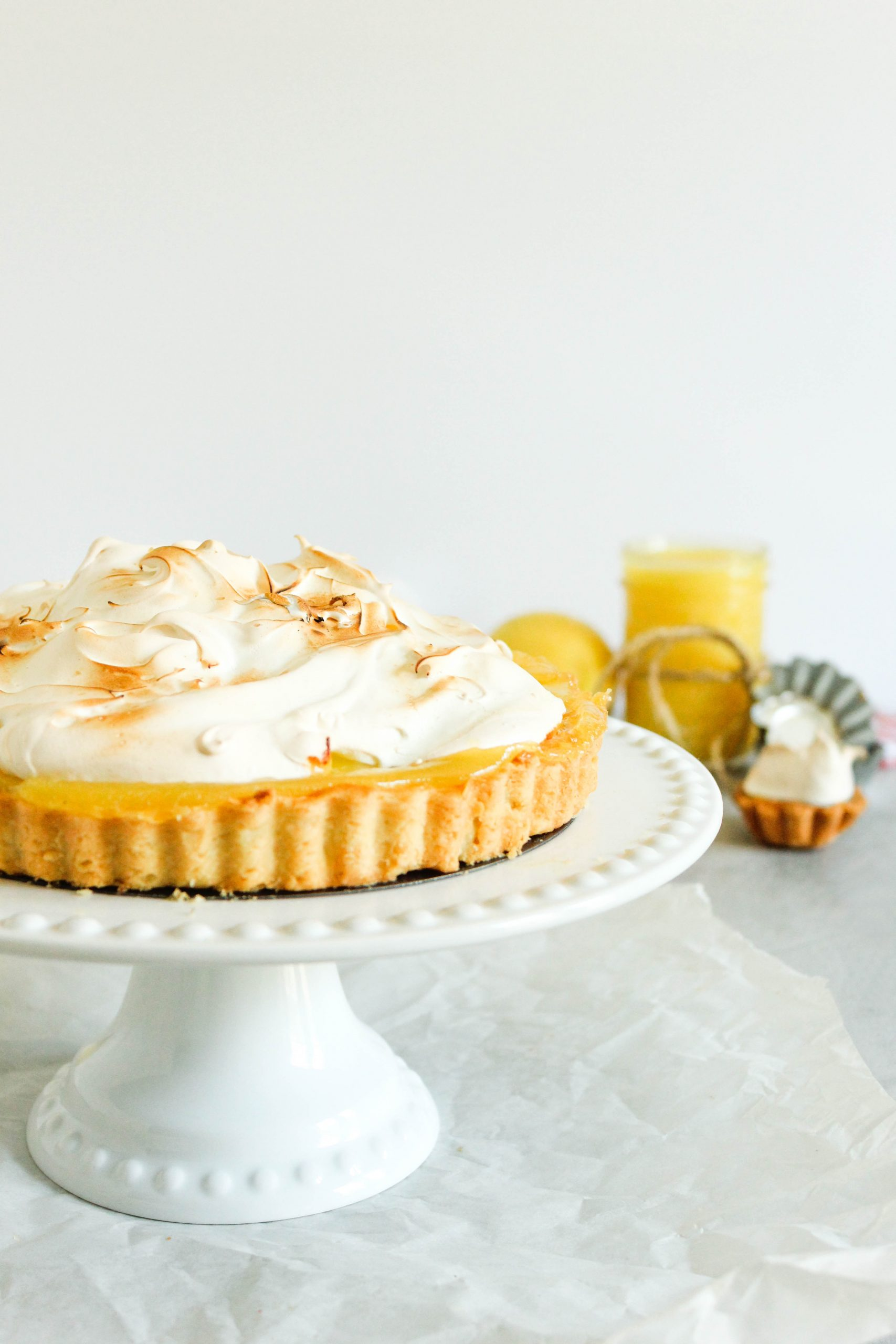 sweet tart pastry filled with lemon curd and topped with a toasted meringue for lemon meringue pie