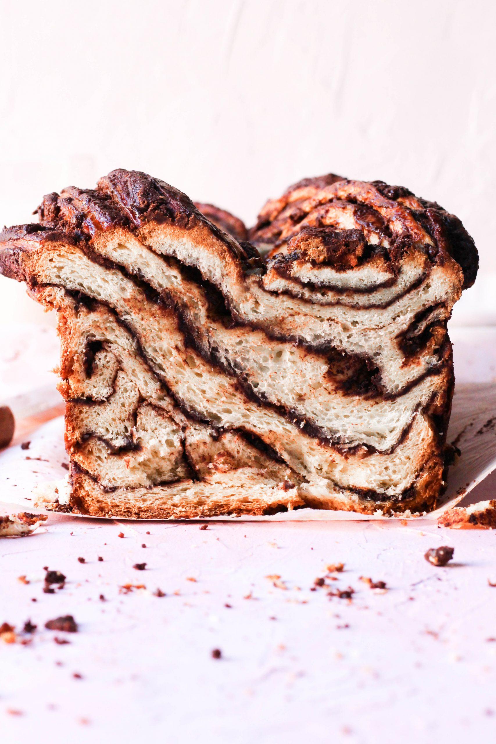 amazingly fluffy babka, brioche style bread with chocolate cinnamon swirls