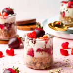 mini Chocolate Strawberry overnight oats, perfect for Valentine's day breakfast