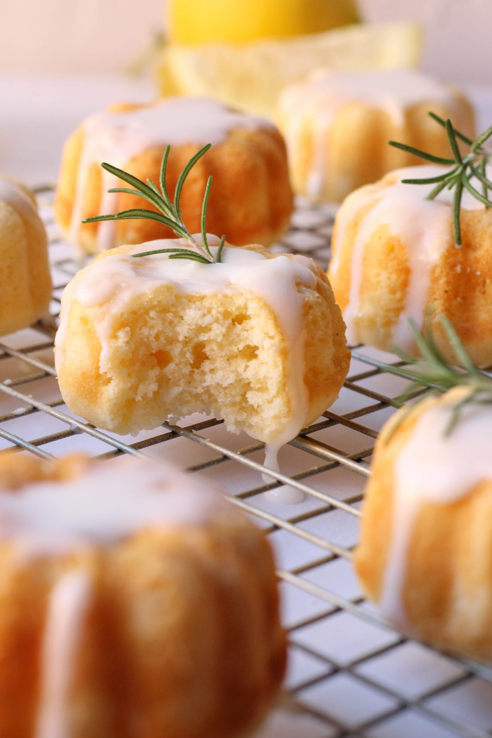 fluffy lemon rosemary mini bundt cakes with lemon vanilla glaze