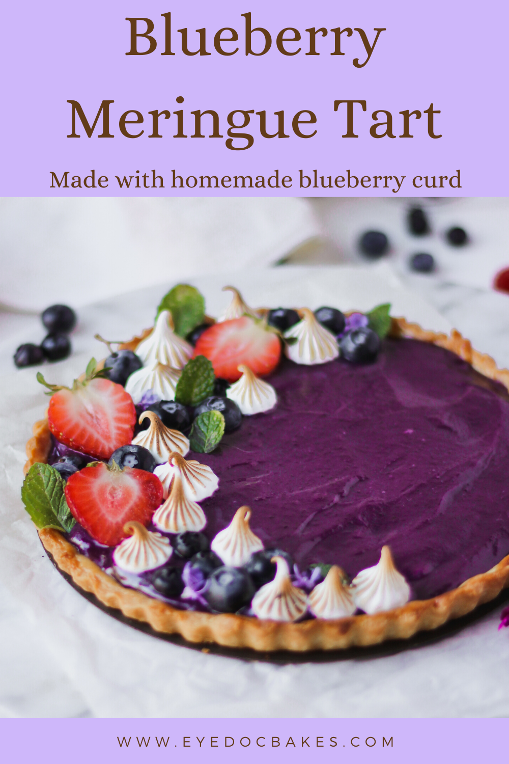 sweet blueberry curd fills this shortcrust pastry to make a yummy blueberry meringue tart