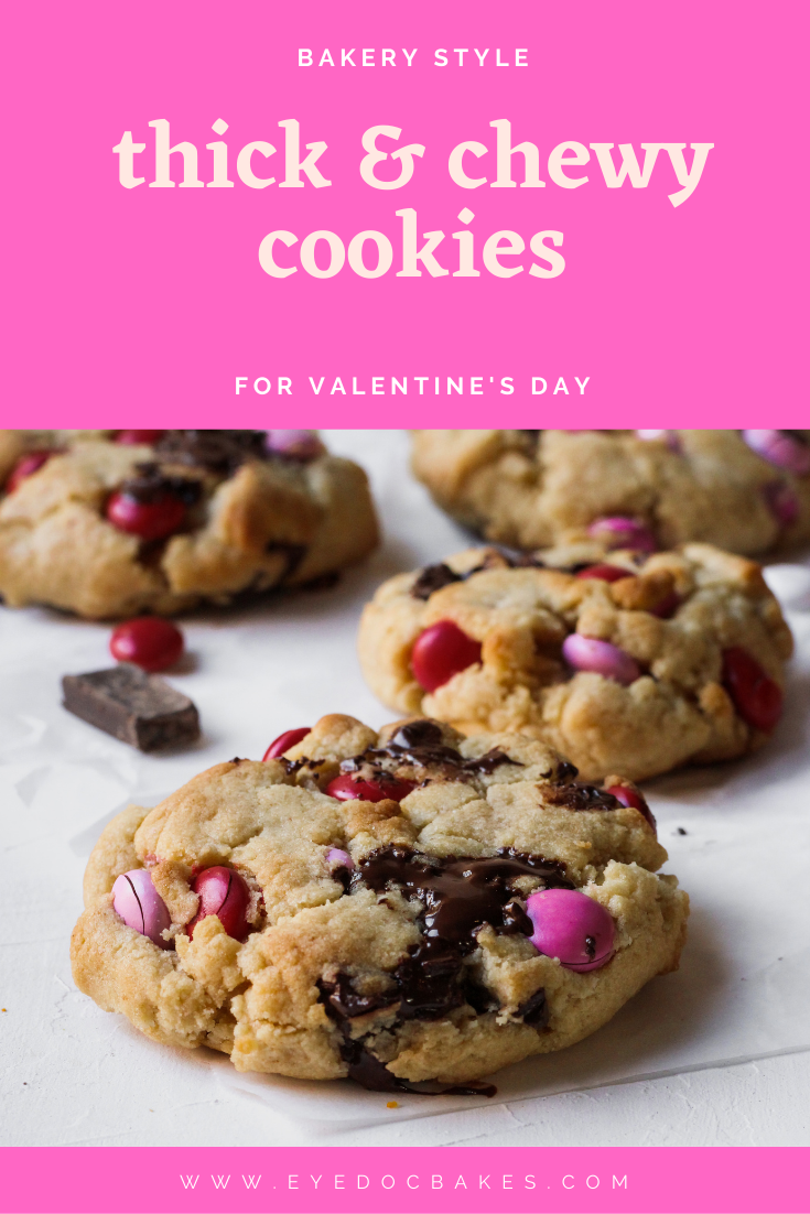 thick chocolate chunk m&m cookies perfect for valentine's day