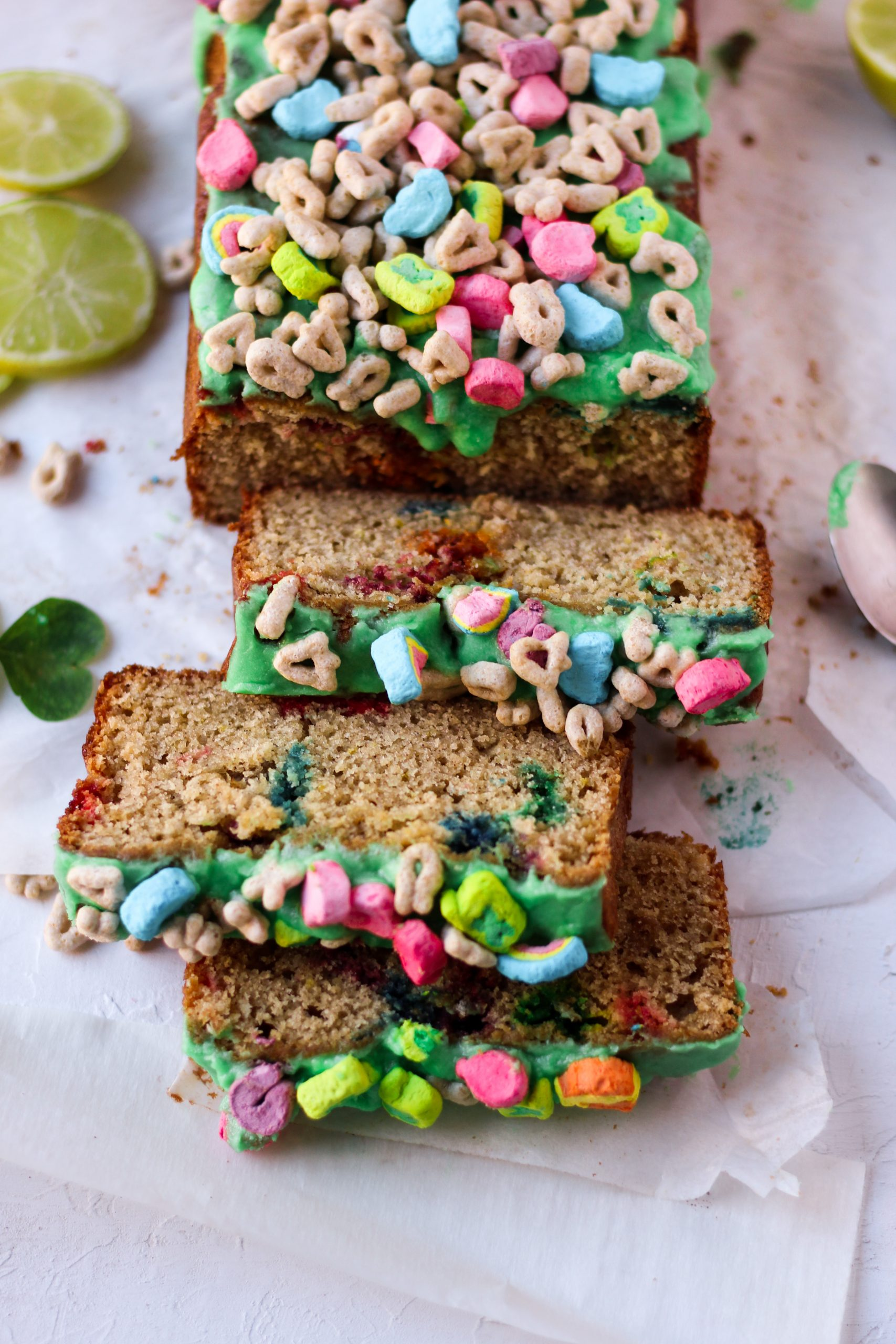 lucky charms loaf cake, made with lime, Irish whiskey, perfect for St. Patrick's day, with green glaze