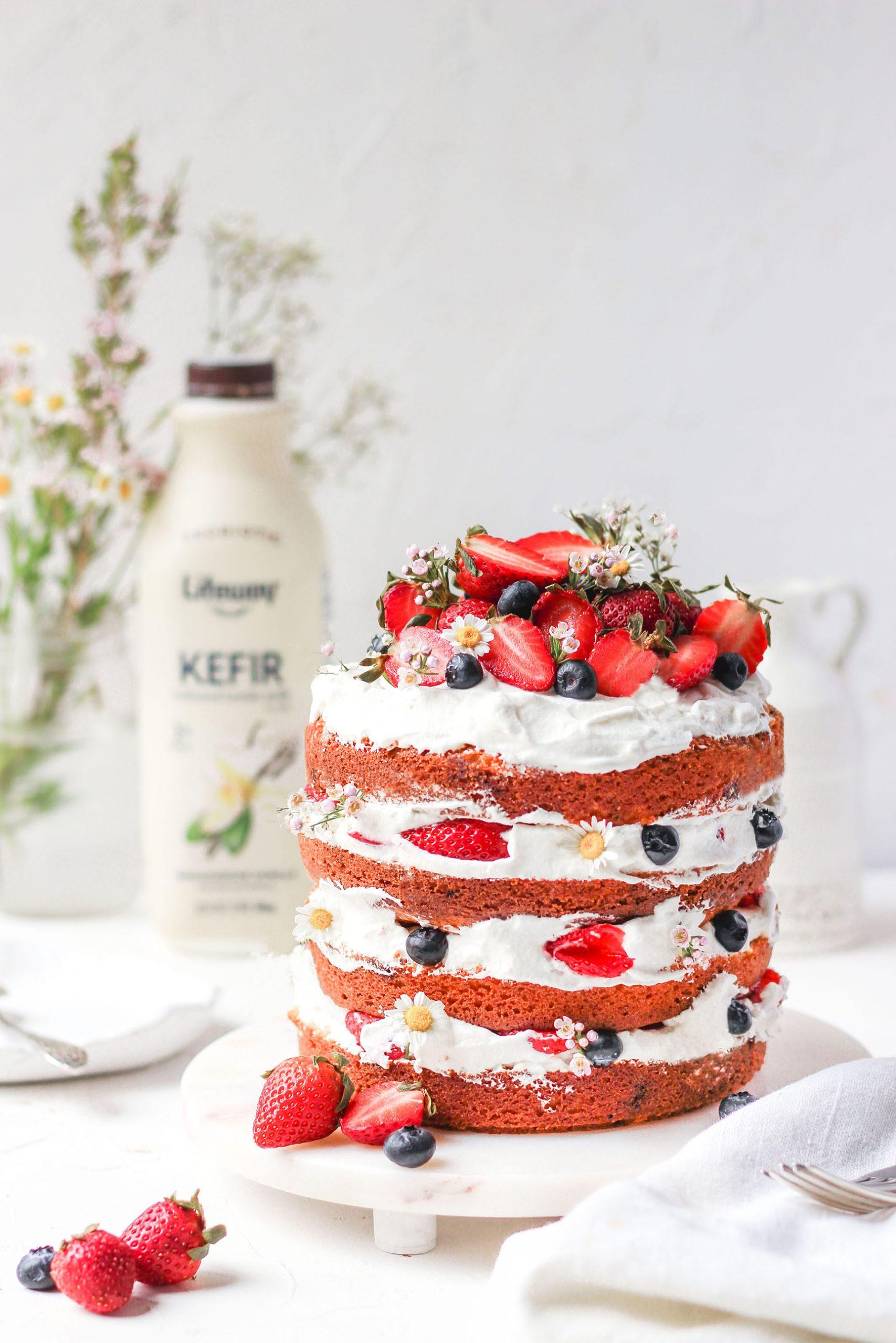 Berry Vanilla Kefir Cake, layer berry cake, six inch cake, mother's day cake