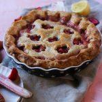 classic strawberry rhubarb pie with flower crust