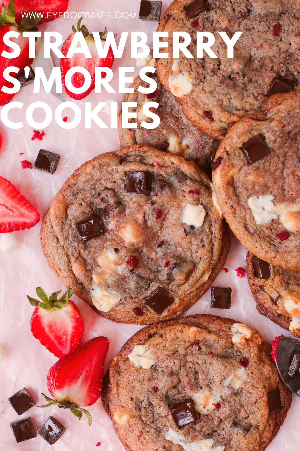 chewy and delicious strawberry s'mores cookies with marshmallows, chocolate chunks, and freeze dried strawberries